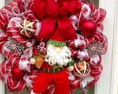 Santa Light up Christmas Wreath, christmas wreath,Santa Wreath