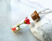 Red rose bottle necklace, polymer clay flower sand heart & shell, romantic glass vial necklace, I love you, June gift, girlfriend, for her