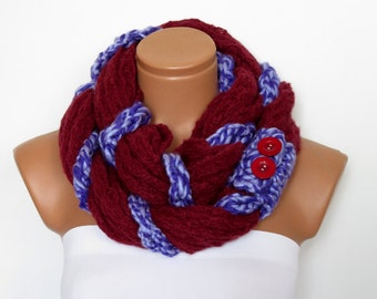 Braided infinity scarf, Scarflette, Neckwarmer, Burgundy purple Infinity Scarf Knitted Chunky Scarf, , Gift For Her, Knit Chain Cowl, Cozy