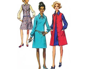 """1970 A-line French-dart Dress, Long Sleeve/Cuffs, Front Buttoned Duster/Vest/Jumper, Ideal for Work Smock, Simplicity 9028, Bust 40"""" or 42"""""""