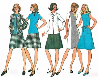 "1973 Vintage Wardrobe, Princess Seam Dress, A-line Skirt, Short Sleeve or Shell Top, Lined Jacket/Trim Option, McCall's 3490, Bust 40"" Uncut"