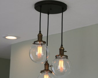 """Chandelier Light   - 3Strands  6"""" Glass Globe Chandelier on 10"""" Oil Rubbed Bronze Canopy with Edison Bulbs Optional"""