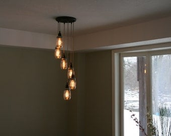 Chandeliers pendant lights etsy jar chandelier light 6strand spiral mason jar chandelier on 12 oil rubbed bronze canopy aloadofball