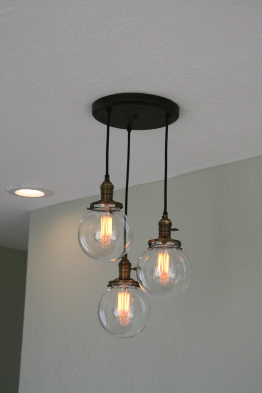 Chandelier Light 3Strands 6 Glass Globe By IndustrialRewind