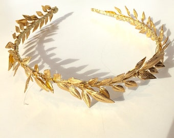 Gold Leaf Headband- Leaf Headdress- Special Occasion Headband- Wedding Crown- Bridal- Prom- Made in USA- Toga- Greek Costume -Crown Hairband