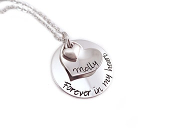 Personalized Memorial Necklace - Forever In My Heart - Loss, Remembrance, Miscarriage, Widow -  Engraved Jewelry - Memorial Jewelry - 1314