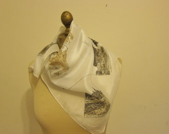 QUEBEC silk scarf, elegant and unusual, hand rolled