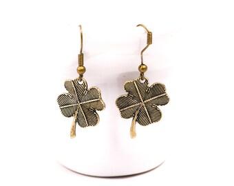 Four Leaf Clover Earrings, Antiqued  Bronze Earrings, Bohemian jewelry,  Steampunk, Clover jewelry, Boho Style
