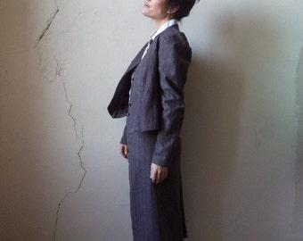 midi skirt suit/ Peabody House/ vintage 70s/ med
