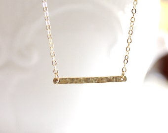 Tiny Hammered Gold Bar, 14k gold filled Necklace - Minimal Pendent Necklace, Birthday Gift, Lovely Gift ,Mother's day gift