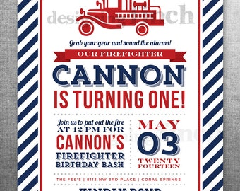 Firefighter Fireman Birthday Invitation, Photo Card, 5x7, Printable and Customizable #135