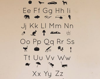 ABC Alphabet Picture Icons Shilouettes  -  Wall Decal Custom Vinyl Art Stickers