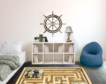 Pirate Ship Captain's Wheel - Wall Decal Custom Vinyl Art Stickers