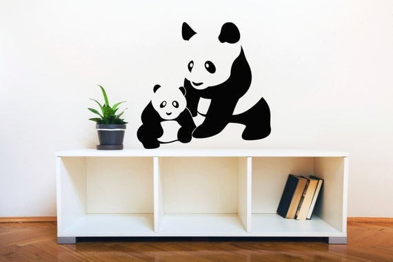 Mom and Baby Panda - Wall Decal Custom Vinyl Art Stickers