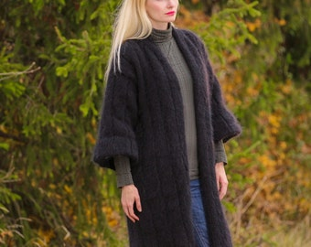 Gorgeous retro hand knit mohair coat in black with satin lining by SuperTanya