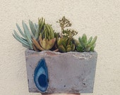 Concrete and sliced Agate planter, pencil holder, napkin holder you name it!