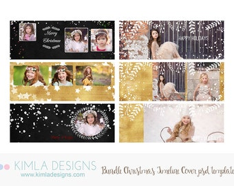 Bundle Pack Christmas Timeline Covers PSD Templates