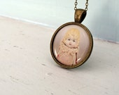 Photo Pendant Necklace of an Antique Porcelain Doll Named Claudia Doll Pendant