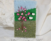 Embroidered Felt Spring Brooch - Hill-side sheep, blossomed tree stitched by Lynwoodcrafts