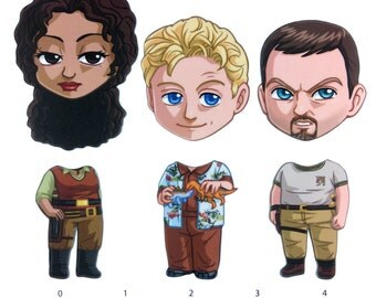 Mix and Match Magnets: Zoe, Wash, Jayne Cobb (Firefly Set 2)