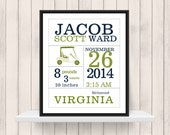 Golf Birth Announcement Print  - Golf Nursery  - Sports Nursery Decor