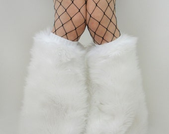 MADE TO ORDER fluffy boot covers fuzzy legwarmers festival fashion white rave fluffies leggings halloween costume