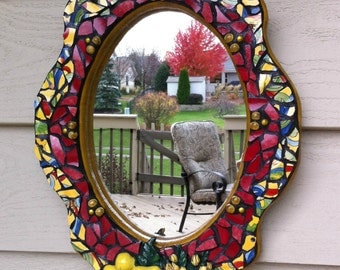 Mosaic Mirror French Country Fruit Upcycled Recycled Pique Assiette Red Yellow Broken China