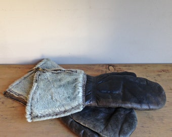 Vintage Wolverine Mens Black Leather Mittens Gloves Seal Fur Medium Large Outerwear Arctic Winter Faux Synthetic Military