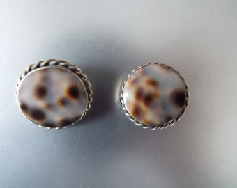 925 sterling silver leopard shell abalone Native American southwestern tribal boho modernist  earrings clip