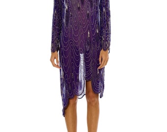 1980s Vintage Purple Beaded Asymmetrical Dress    Size: M/L