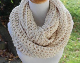 THE ORION - Oversized Infinity Scarf, Chunky, Wool-Blend, Crochet Infinity Scarf / Ivory