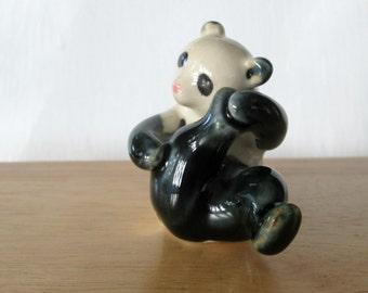 Vintage Panda Bear Miniature Tiny Ceramic Collectible Figurine Woodland Bear