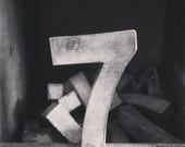 Square Black And White Print Of A Vintage Antique Metal Number 7
