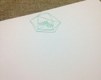 Geometic Letterpress Thank You Cards: Set of 8 Green