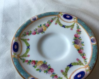 1923 Royal Worcester Demitasse China Saucer Aqua Blue with Floral Swags