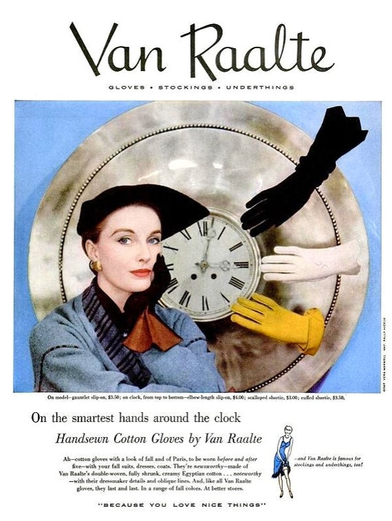 1951 Van Raalte Gloves Fashion & GE TV Advertisements Haute Couture Vogue Vera Maxwell Sally Victor Hat Wall Art Print Glamour Boudoir Decor