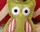 Burlap Owl Christmas Ornament with year