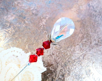 Victorian Hat Pin, red and crystal, beaded scarf pin, lapel stick pin, beaded jewelry