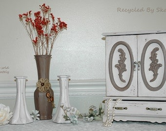 Shabby Cottage Chic Style Dresser Top Hand Painted Jewelry Box Armoire Revitalized