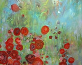 Original poppy floral abstract-- Scarlet