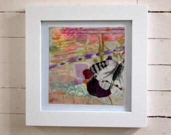 White Butterflies 1-- original art in frame