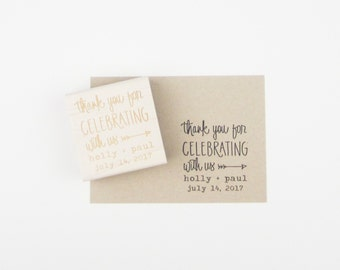 Custom Wedding Calligrapy Stamp - Thank You For Celebrating With Us personalized wedding stamp for DIY wedding favors - H4300