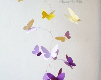 3D Butterfly Mobile, Kinetic mobile, Hanging mobile, Nursery decor, Yellow lavender violet butterflies mobile