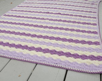 Vintage Afghan Lavendar Purple Throw Handmade
