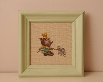 Vintage Bear and Dog Needlepoint  in Mint Green Frame