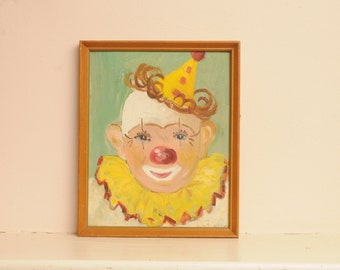 Vintage Original Clown Painting Circus Green Red