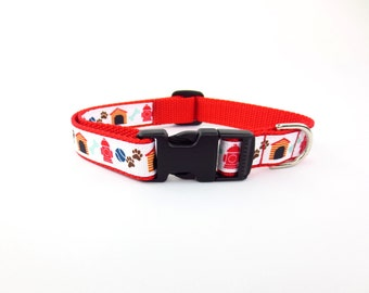 "Medium 3/4"" wide Playful Puppy Dog Collar"
