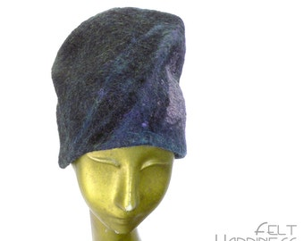 Slouchy Felted Hat - Almost Black with Purple Toque- For Dark Beauty and Gnomes - Unique Wearable Art - Dinosaur - Raven Wing