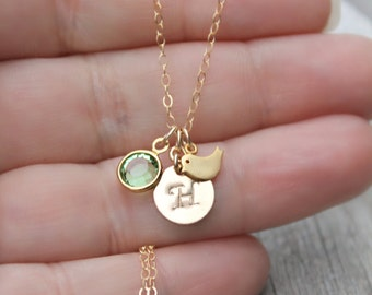 Child necklace, little girl necklace, Personalized 14k gold filled custom stamped initial disc, Swarovski Birthstone, tiny bird, monogram