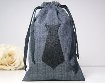 Small Groomsmen Gift Bag - Small Mens Gift Bag - Small Mustache, Bowtie, or Necktie Bag
